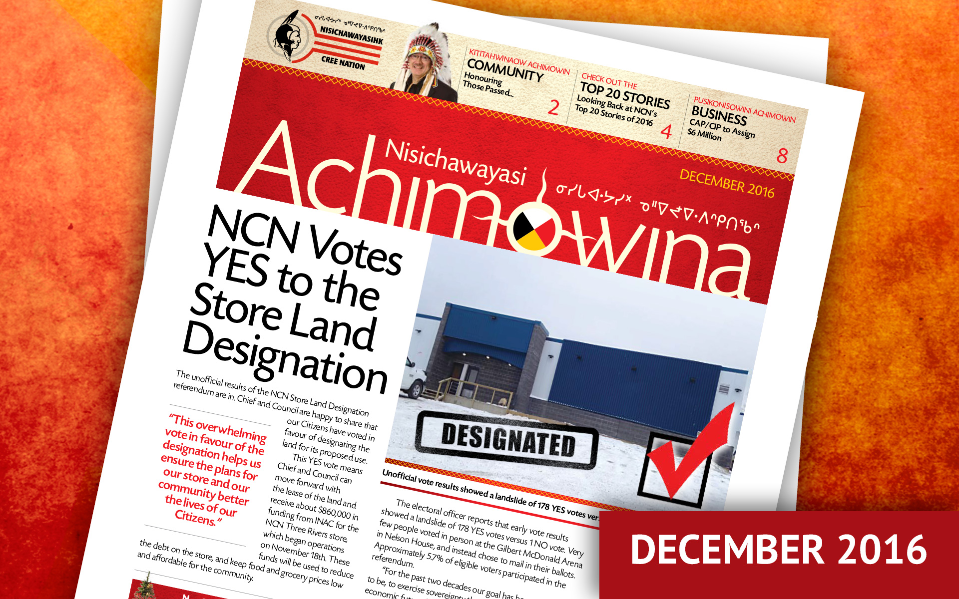 Achimowina December 2016 - NCN Votes YES to the Store Land Designation