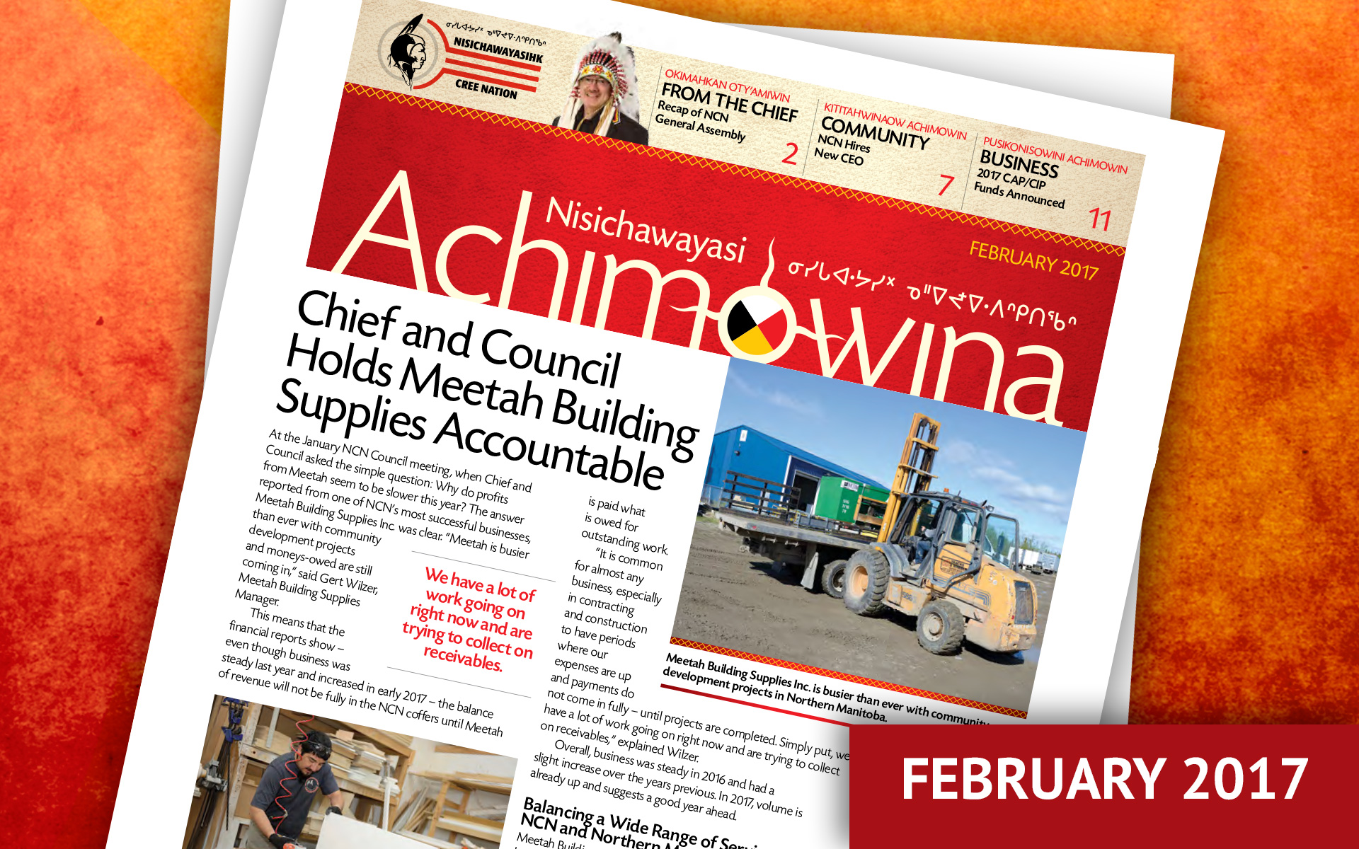 Achimowina February 2017 - Chief and Council Hold Meetah Building Supplies Accountable
