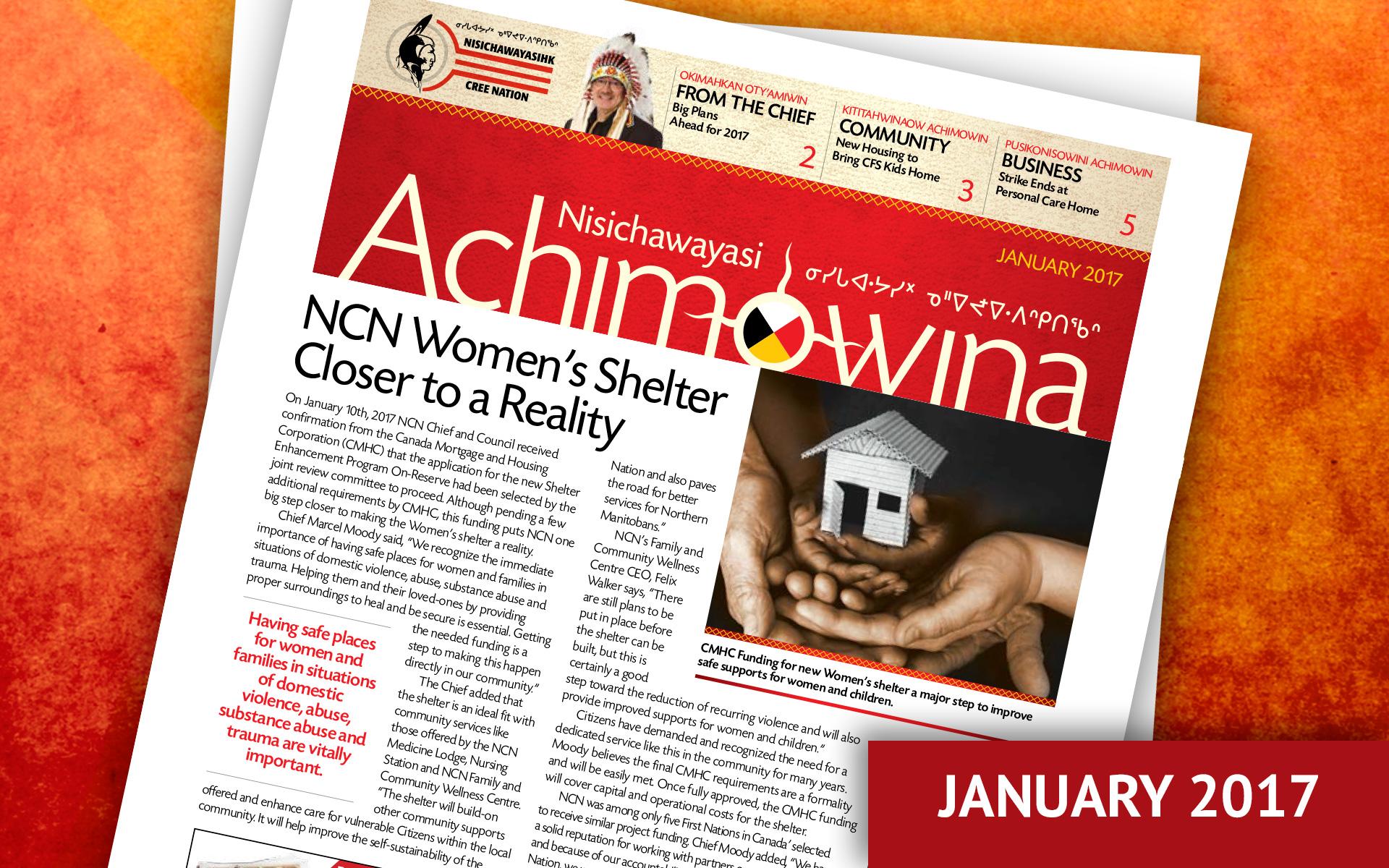 Achimowina January 2017 - NCN Women's Shelter Closer to Reality