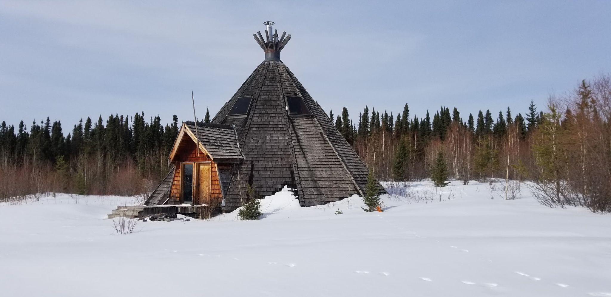 Leftrook Lake teepee for special learning and teaching of traditional Cree Culture