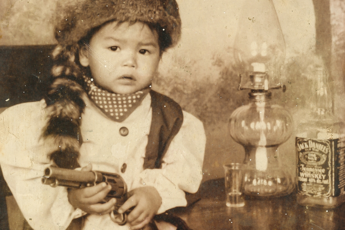 Little Boy with Racoon Hat